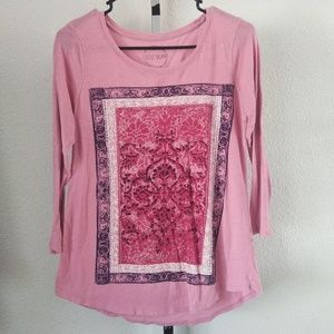 Lucky Brand Pink Long Sleeve Tee Size Small